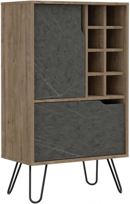 Destock Meubles Meuble bar bois mélaminé effet pin et pierre 2 portes 8 clayettes à bouteilles