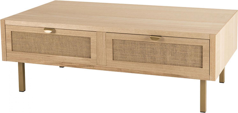 Destock Meubles Table basse 2 tiroirs toile de jute – ALY