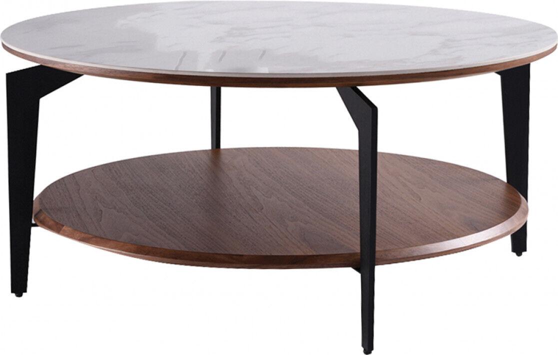 Destock Meubles Table basse ronde double plateau contrecollé céramique et chêne
