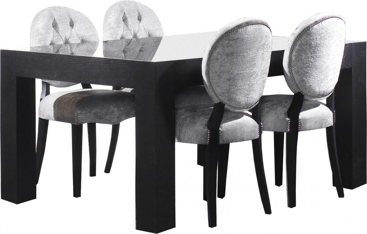 Destock Meubles Table chêne massif rectangulaire plateau verre L160 noir