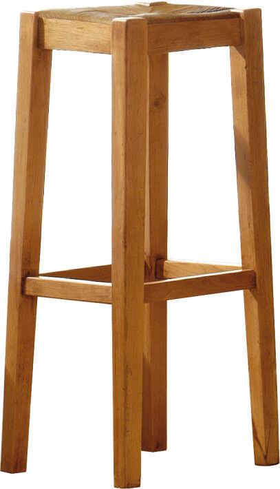 Destock Meubles Tabouret de bar chêne assise paille