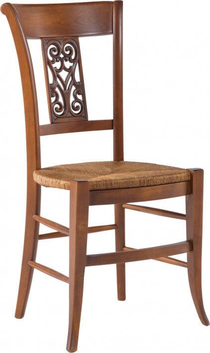 Destock Meubles Chaise hêtre massif teinte merisier dossier sculpté assise paille