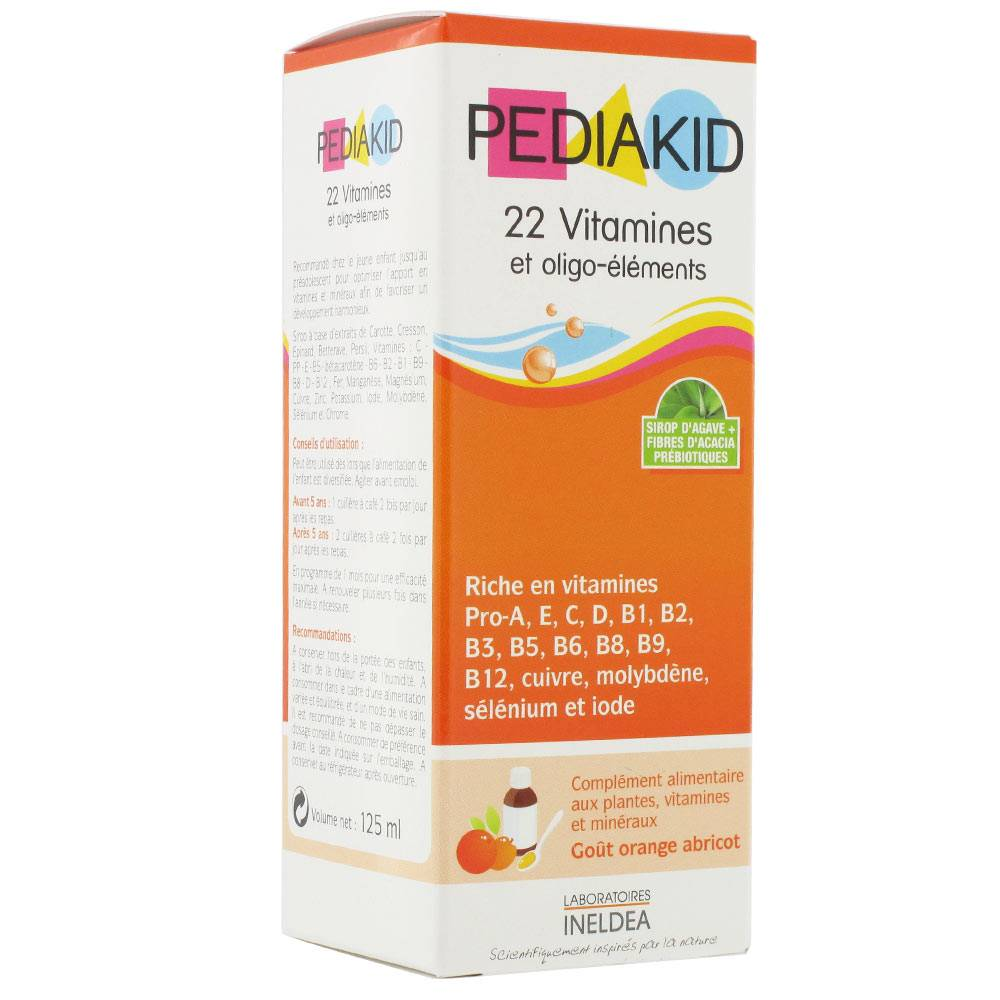 PEDIAKID 22 VITAMINES & OLIGO-ELEMENTS SIROP ORANGE ABRICOT 125ML