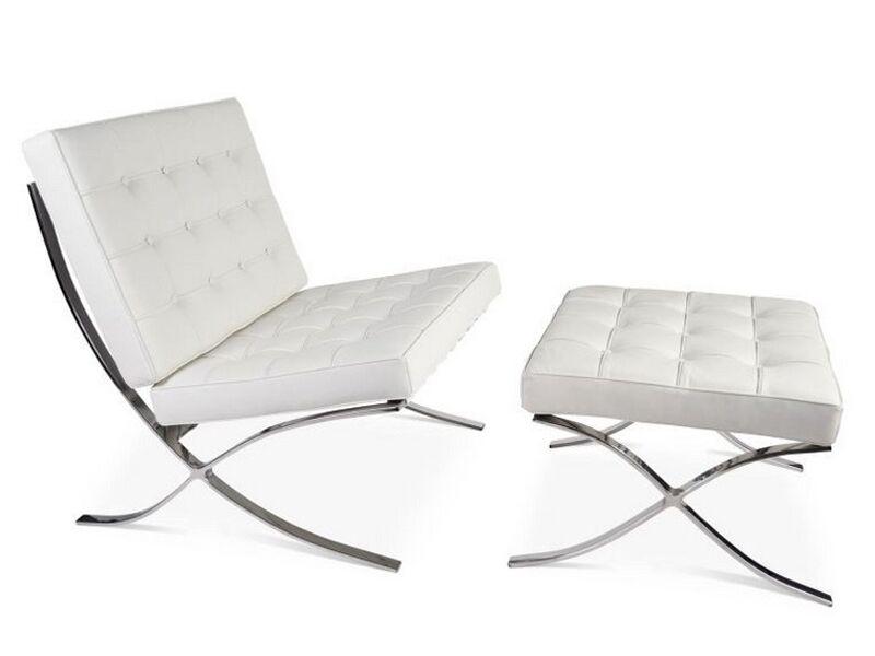 Famous Design Chaise et ottoman Barcelona - Blanc (pur)