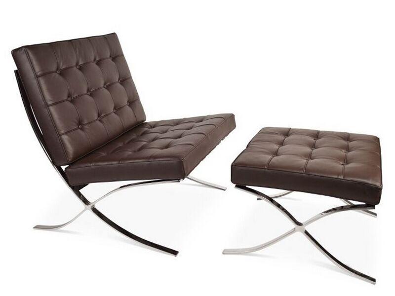 Famous Design Chaise et ottoman Barcelona - Marron foncé