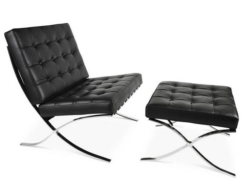 Famous Design Chaise et ottoman Barcelona - Noir