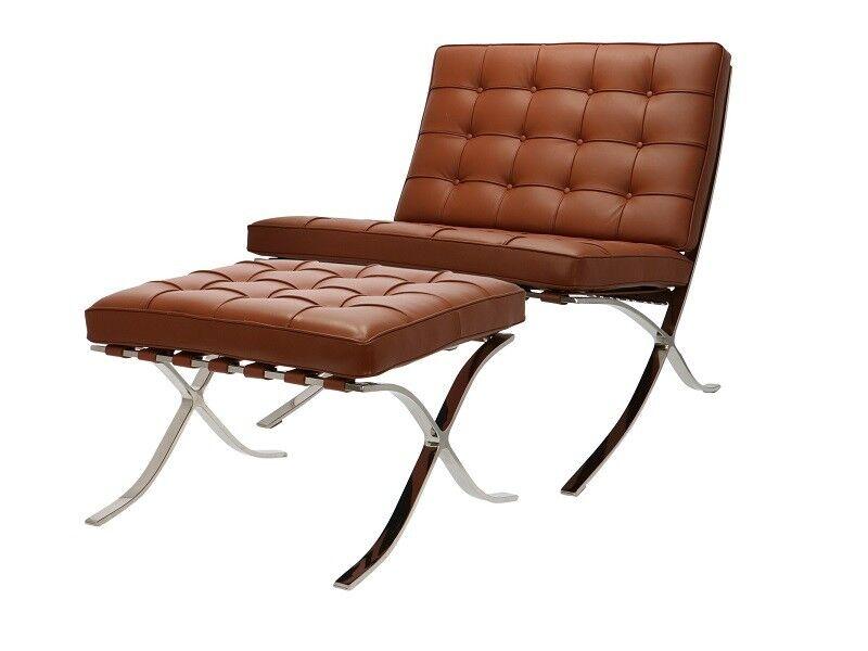 Famous Design Chaise et ottoman Barcelona - Premium Cognac