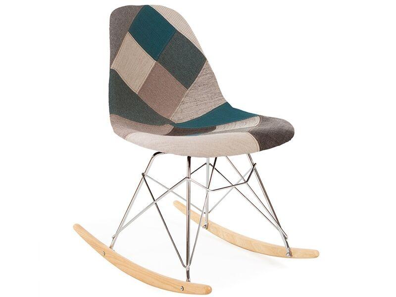 Famous Design Eames rocking chair RSR - Patchwork bleu
