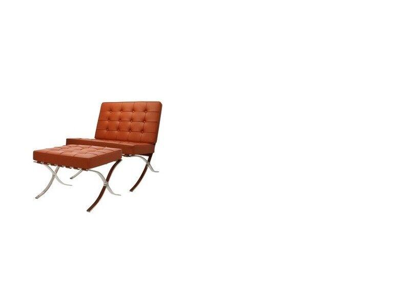 Famous Design Chaise et ottoman Barcelona - Cognac