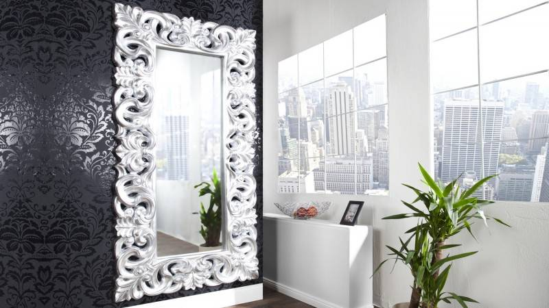 gdegdesign Miroir baroque avec ornement volute gris argenté - Chester