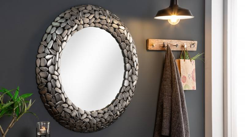 gdegdesign Miroir design rond cadre mosaïque argent - Braga