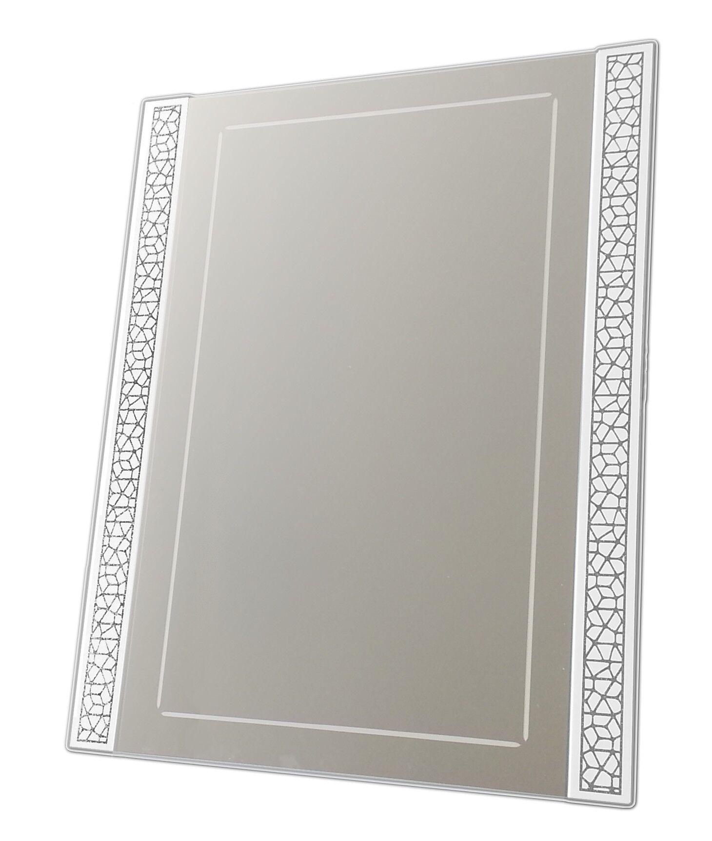 gdegdesign Miroir design blanc rectangulaire à motifs brillants - Steed