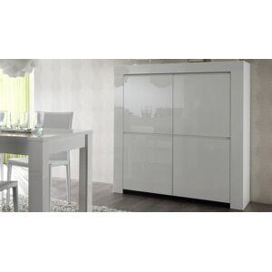 gdegdesign Buffet haut meuble de rangement blanc laqué 4 portes - Naomi - Publicité