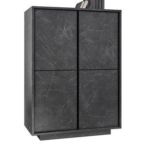 gdegdesign Buffet haut meuble de rangement marbre noir marbré 4 portes - Ercole - Publicité
