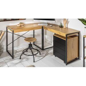gdegdesign Bureau d'angle industriel bois clair et métal - Blair - Publicité