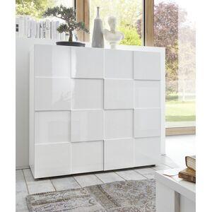 gdegdesign Buffet haut meuble de rangement blanc laqué 2 portes - Faust - Publicité