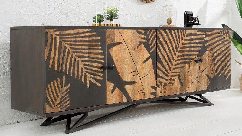 gdegdesign Buffet bahut bois massif tropical exotique gris motifs végétaux - Paco