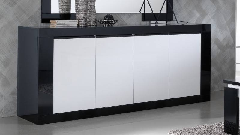 gdegdesign Buffet design noir et blanc 4 portes - Varsovie