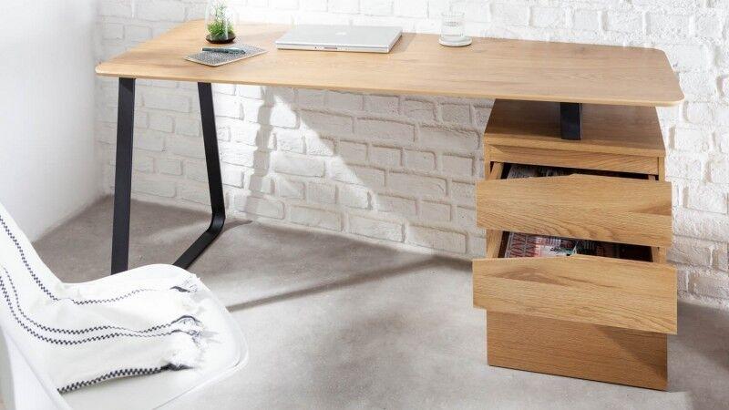 gdegdesign Bureau droit design industriel bois de chêne clair et métal noir avec caisson - Renato