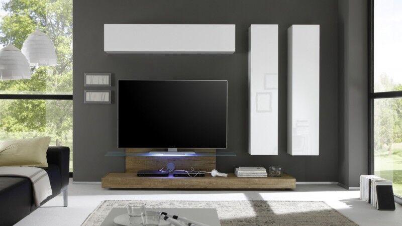 gdegdesign Ensemble meuble TV mural lumineux avec rangements - Upton
