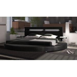 gdegdesign Lit rond design noir 140x190 cm simili cuir - Uster - Publicité