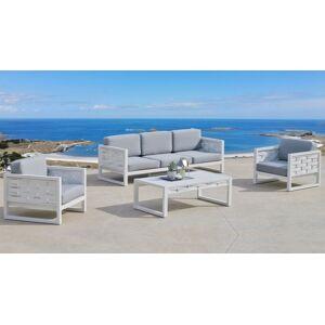 gdegdesign Salon de jardin 3+1+1 blanc et gris avec table basse - Riverside - Publicité