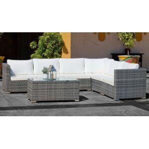 gdegdesign Canapé d'angle de jardin résine tressée rotin gris et blanc + table basse - Sacramento - Publicité