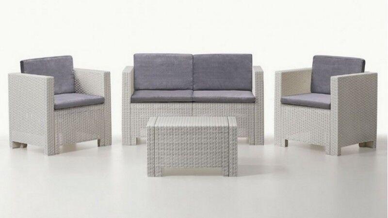 gdegdesign Salon de jardin 2+1+1 blanc et gris résine tressée avec table basse - Orlando