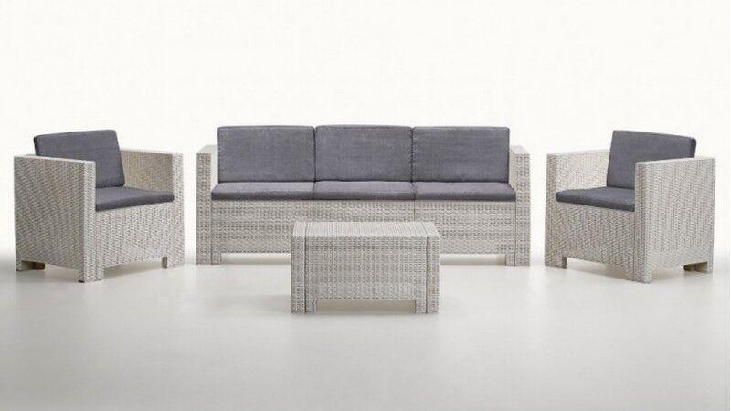 gdegdesign Salon de jardin 3+1+1 blanc et gris résine tressée avec table basse - Orlando XL