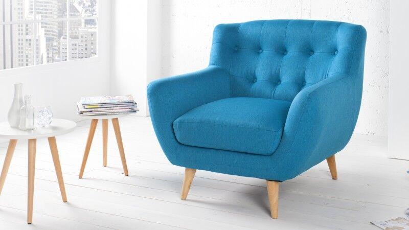 gdegdesign Fauteuil design tissu bleu scandinave - Sverker