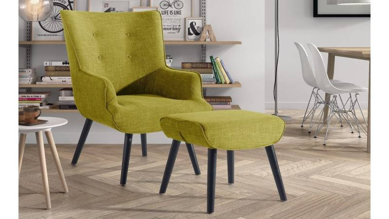 gdegdesign Fauteuil design tissu jaune moutarde avec repose-pieds - Falk