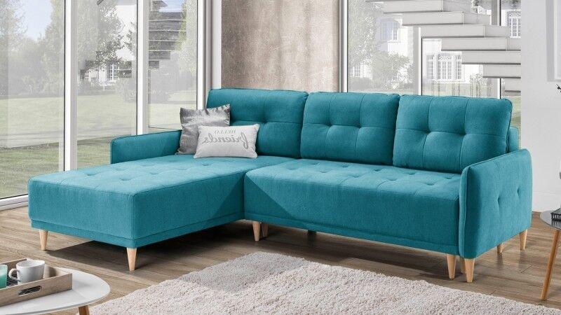 gdegdesign Canapé d'angle scandinave convertible en tissu bleu turquoise - Oslo