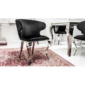 gdegdesign Chaise fauteuil baroque velours noir avec accoudoirs - Zita - Publicité