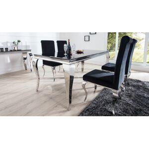 gdegdesign Table à manger baroque rectangulaire plateau verre noir 180 cm - Zita - Publicité