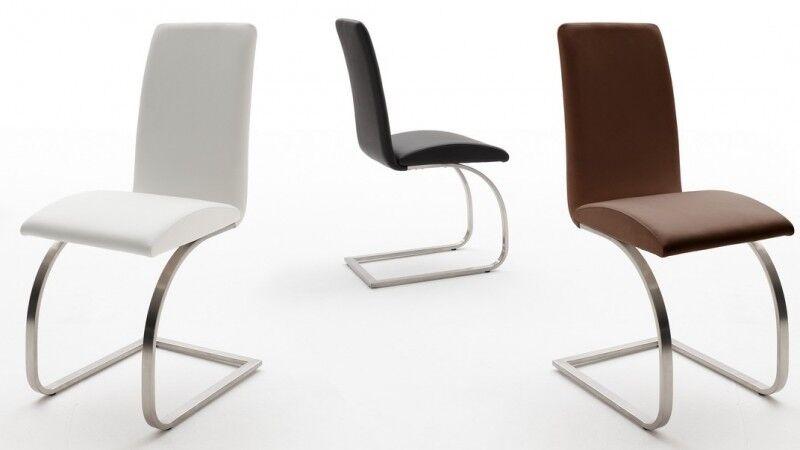 gdegdesign Chaise design simili cuir et pied inox brossé - Leeds