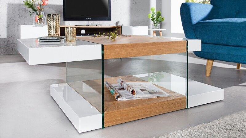 gdegdesign Table basse double plateaux blanc et bois clair avec verre - Varberg