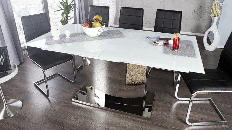 gdegdesign Table à manger extensible verre blanc piétement chromé 180 220 cm - Gwalior