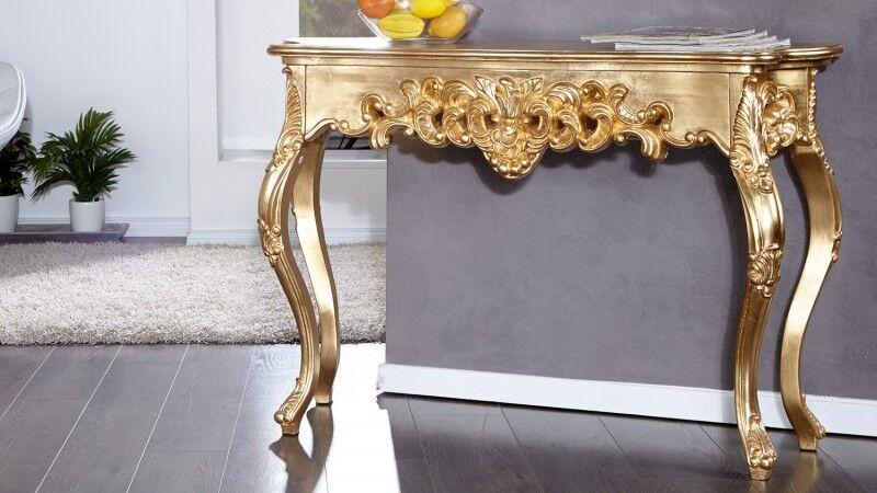 gdegdesign Console baroque rococo or doré avec ornement - Chester