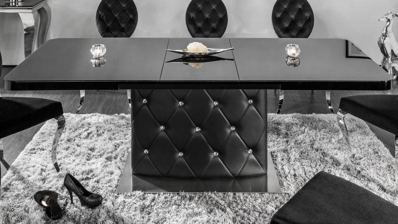 gdegdesign Table à manger strass extensible verre laqué noir 160 200 cm - Klaudia