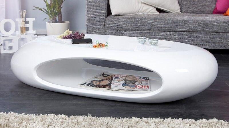 gdegdesign Table basse ovale galet blanche fibre de verre - Orono