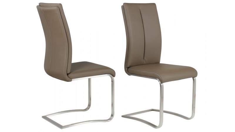 gdegdesign Chaise design simili cuir taupe café et métal brossé - Milano