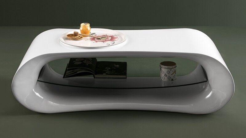 gdegdesign Table basse design blanche arrondie avec étagère verre - Larson