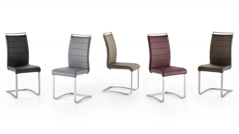 gdegdesign Chaise design simili cuir matelassé et piétement inox brossé - Stow