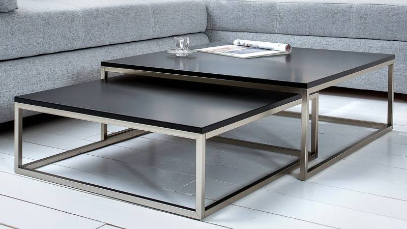 gdegdesign Table basse gigogne carrée laquée noire et inox brossé - Wim