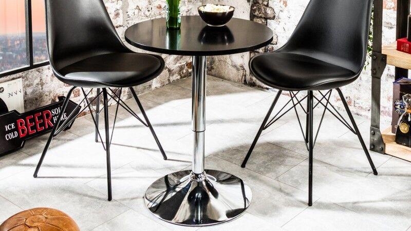 gdegdesign Table haute de bar ou mange debout noir avec piétement métal chromé - Izola