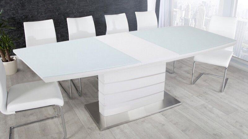 gdegdesign Table à manger extensible laqué blanc et verre 140 180 cm - Maja