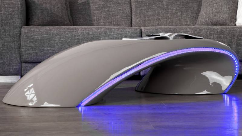 gdegdesign Table basse incurvée gris fibre de verre avec LED - Moscow