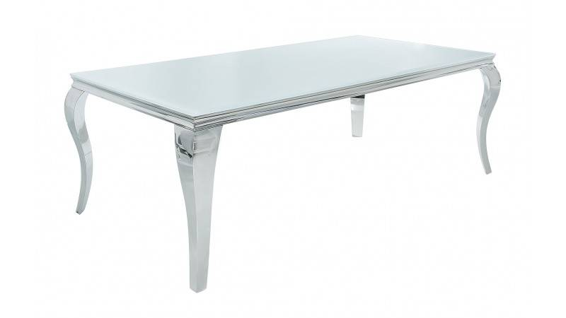gdegdesign Table à manger baroque rectangulaire plateau verre blanc 200 cm - Zita