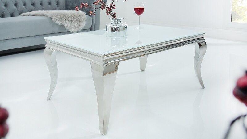 gdegdesign Table basse baroque rectangulaire plateau verre blanc - Zita