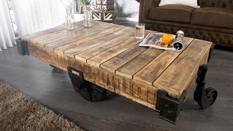 gdegdesign Table basse industriel bois et métal avec roues - Harry